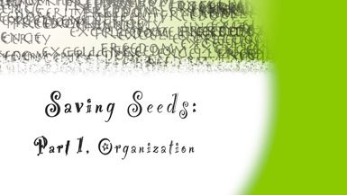 Seed Saving: Part 1, Organization